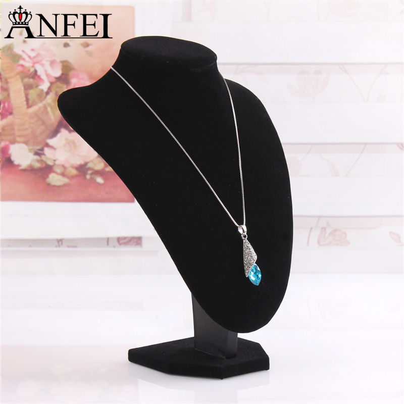Anfei Mannequin bust High Grade Black Flannelette Mannequins nice new design bust model necklaces display rack T04-1 new 2pcs female right left vivid foot mannequin jewerly display model art sketch