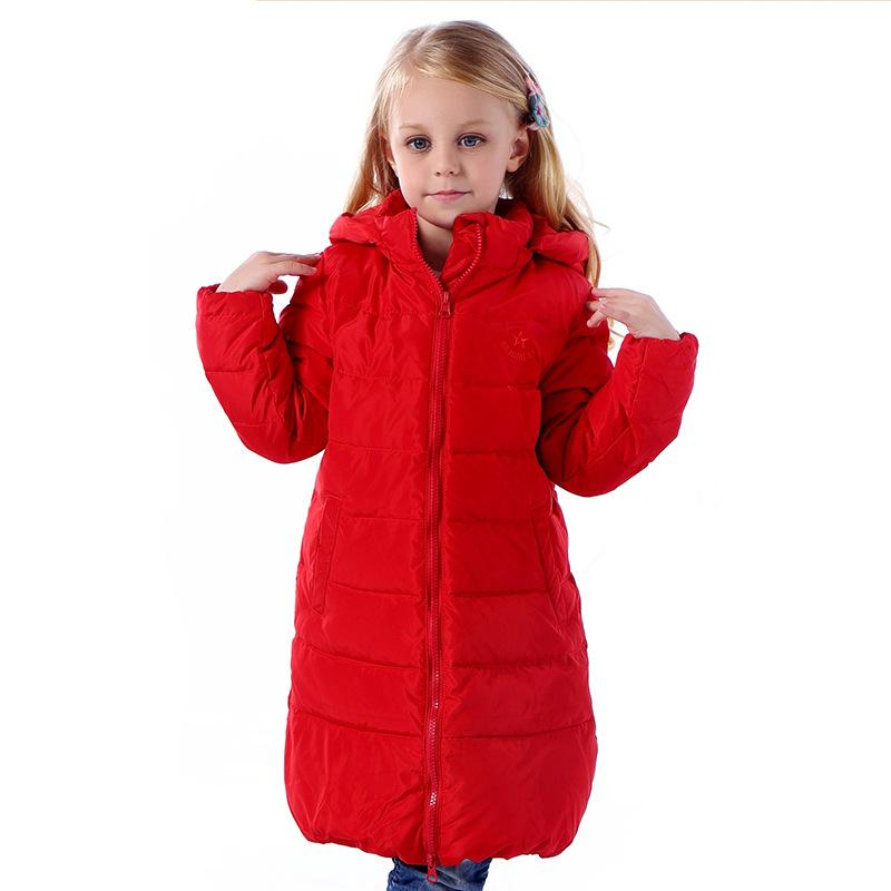children's clothing baby girls down jackets long style thick down Coat jacket hooded Outwear Korean version Winter clothes 3-8y 2017 winter down jacket male korean version of self cultivation hooded thick in the long fashion trend of youth style downjacket