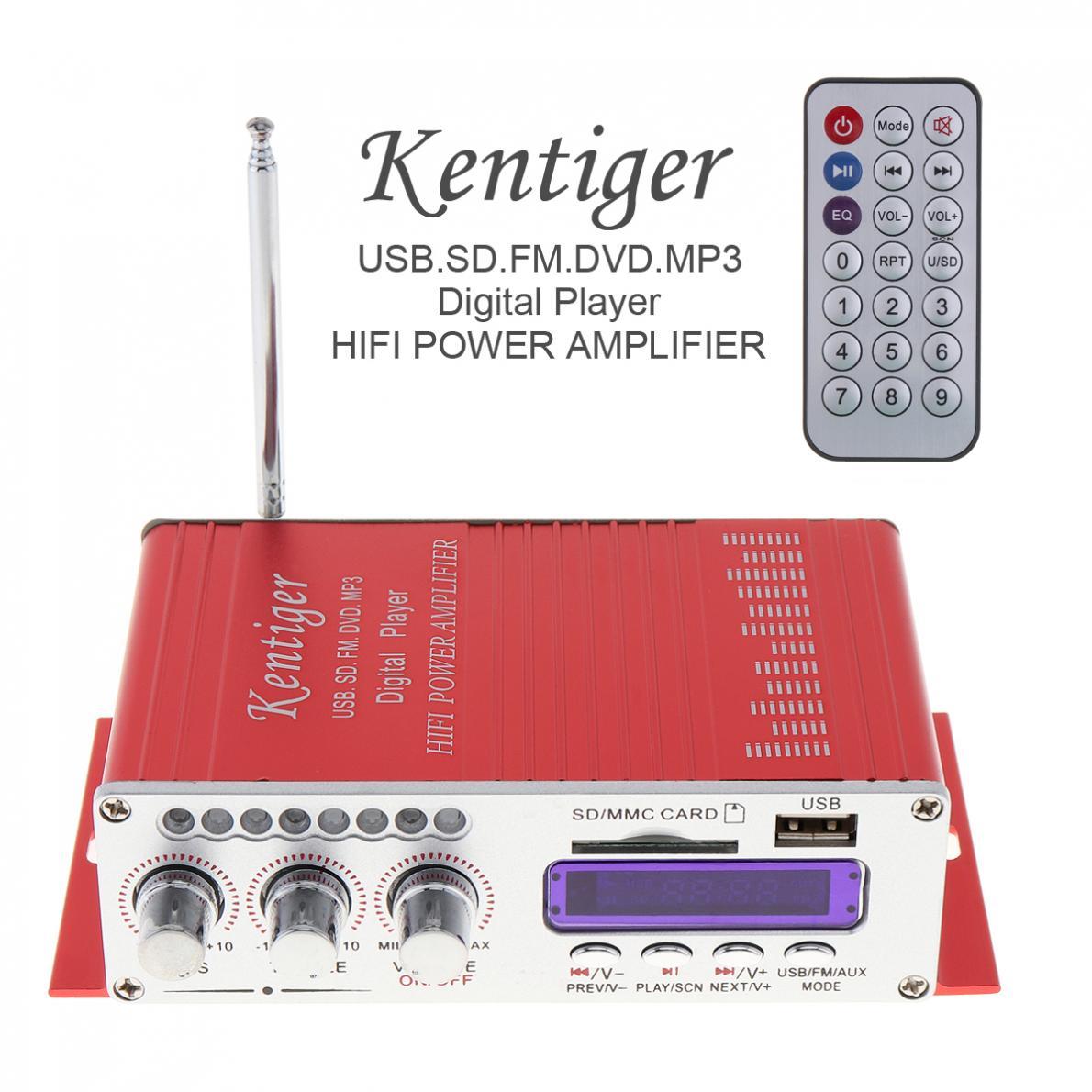 Kentiger HY-502 2CH HI-FI Digital Audio Player Car Amplifier FM Radio Stereo Player Support SD / USB / MP3 / DVD Input