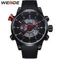 Weide marca Men Quartz Watch esportes relógios dos homens Relogio Masculino de couro PU Display Digital Top moda militar relógios de pulso
