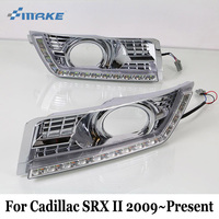 SMRKE DRL For Cadillac SRX II 2009 Present Three Colour Car LED Daytime Running Lights With
