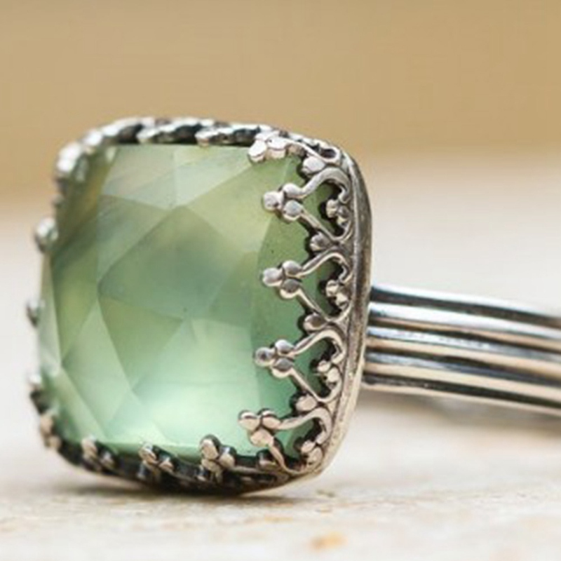 2c6c70e39dc86 US $0.98 10% OFF|Vintage Thai Silver Mint Green Moonstone Ring Simple Green  Square Zircon Ring For Women Fashion Retro Female Rings Jewelry-in Rings ...