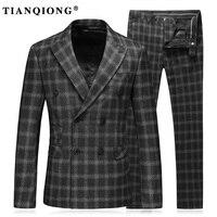 טיאן גברים Custom Made המשובץ Slim שחור כפול חזה חליפה קיונג חליפות שמלת כלת חתונת Fit לגברים תלבושות Homme 3 יחידות Terno
