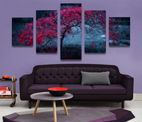 5 Pieces Unframed Red Tree In The Night Beautiful Scenery Canvas Picture Wall Art HD Print