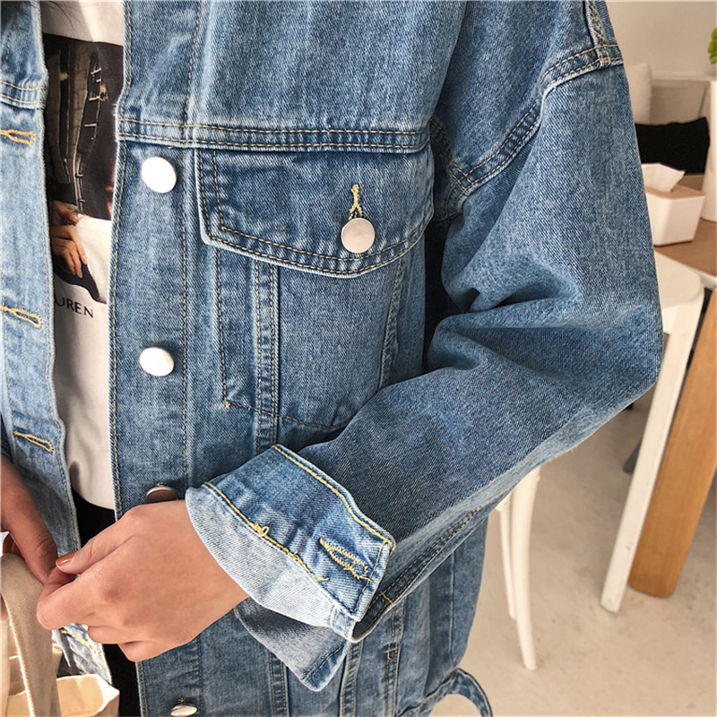 RUGOD Solid Turn-down Collar Jean Jacket for Women Loose Casual Blue Fashionable Women Coats Female outwear Denim Feminine 7