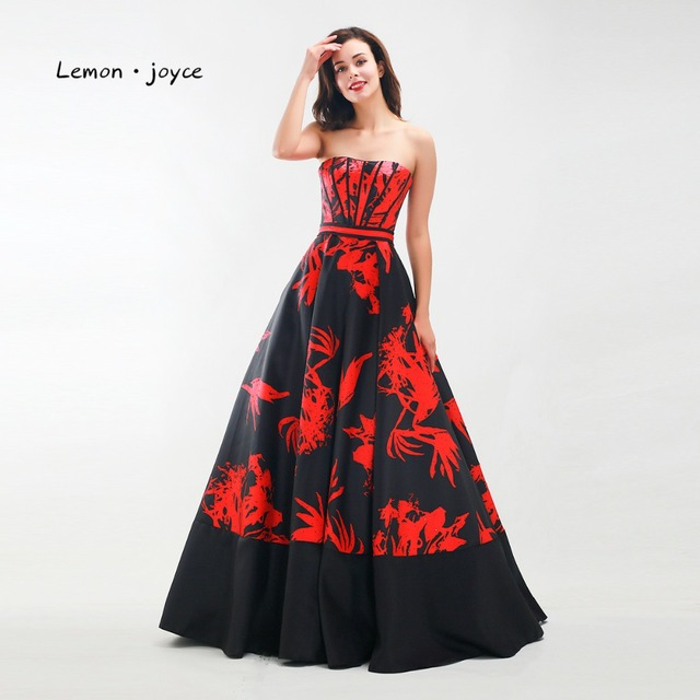 0256db0da6 Lemon joyce Prom Dresses 2019 Sexy Strapless A-Line Christmas Party Gowns  Floral Print Simple Evening Dress Plus Size Black Red