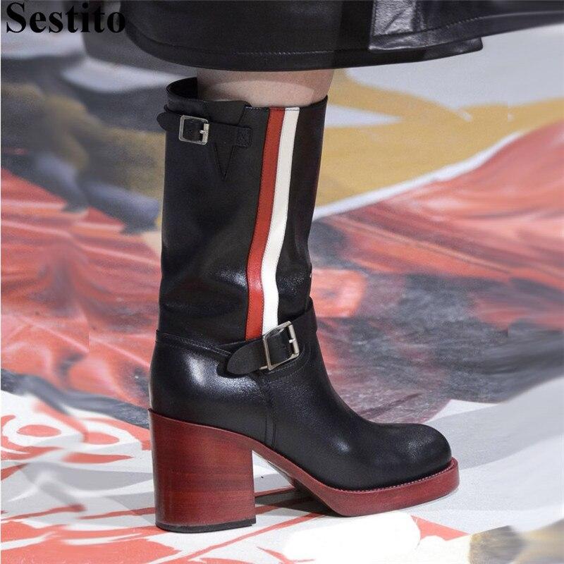 Heels Stiefel Für Mode Slip Picture Europäischen Picture on kalb Mid As Schwarz as Schuhe Hoof Herbst Schnalle Mischfarben Kappe Runde Frauen Casual 8dIwIP