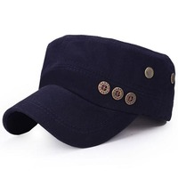 New Korean Men Women Flat Hat Summer Spring Fashion Buttons Cotton Hat Cap Military Peaked Cap