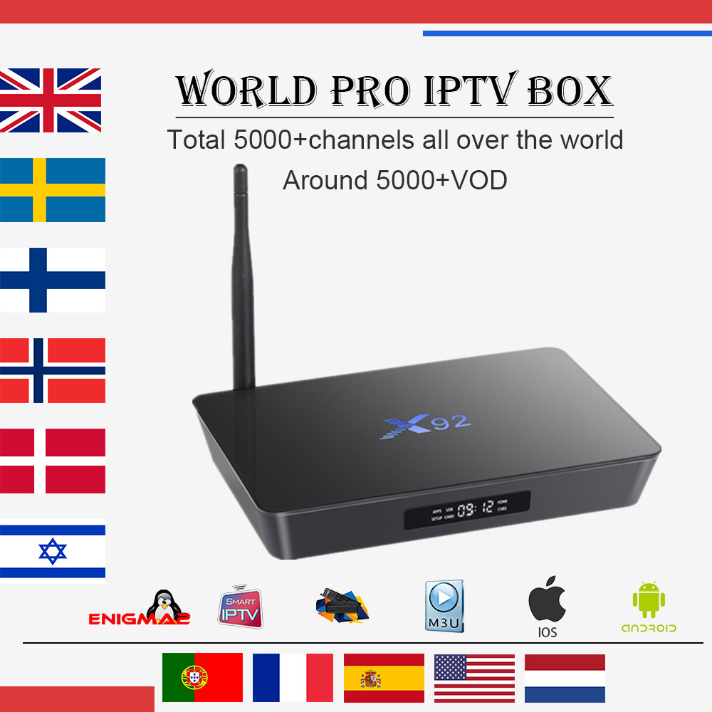 Meilleur X92 Android 7.1 tv box 2g/3g 16g/32g Amlogic s912 Octa- core 4700 + Arabe Français Italie Allemand ROYAUME-UNI IPTV Smart tv set top box