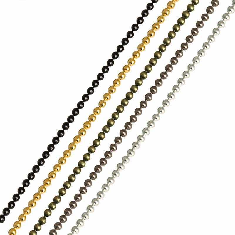 LOULEUR 10 metrów/partia 1.2 1.5 2 mm złoty/srebrny/czarny kolor Metal Ball paciorek łańcuchy luzem dla bransoletka Zrób To Sam naszyjniki biżuteria Making