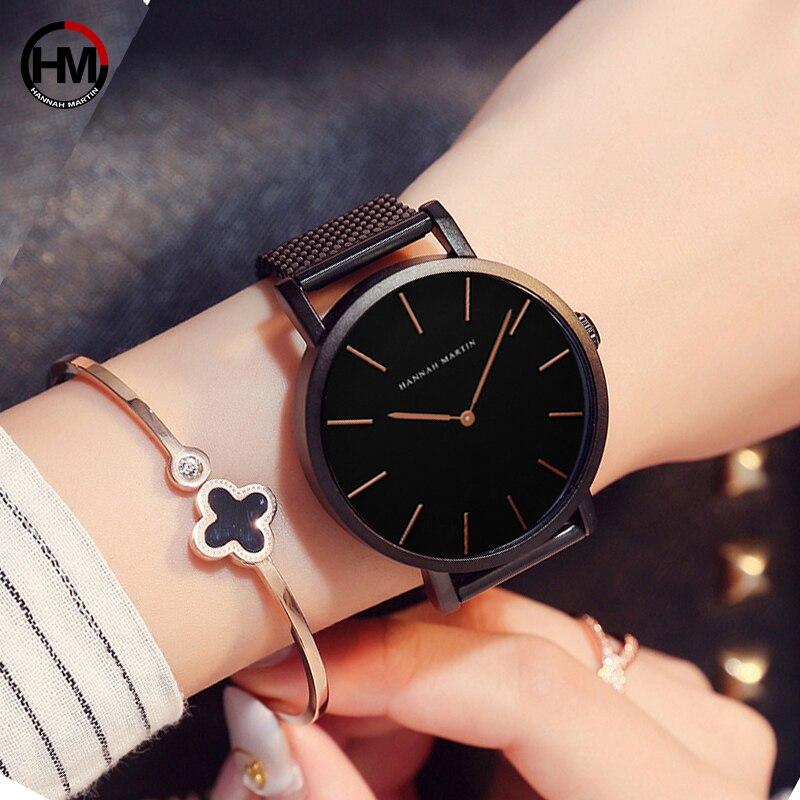 36mm Schwarz Japan Bewegung Hohe Qualität Top Marke Luxus Frauen Armbanduhr Edelstahl Wasserdichte Damen Uhren Dropshipping