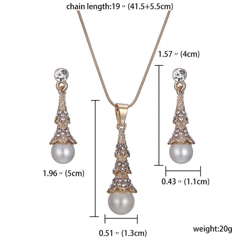 jiayijiaduo Fashionable necklace earrings for women  jewelry sets imitation pearl pendant gold color Mother's Day gift