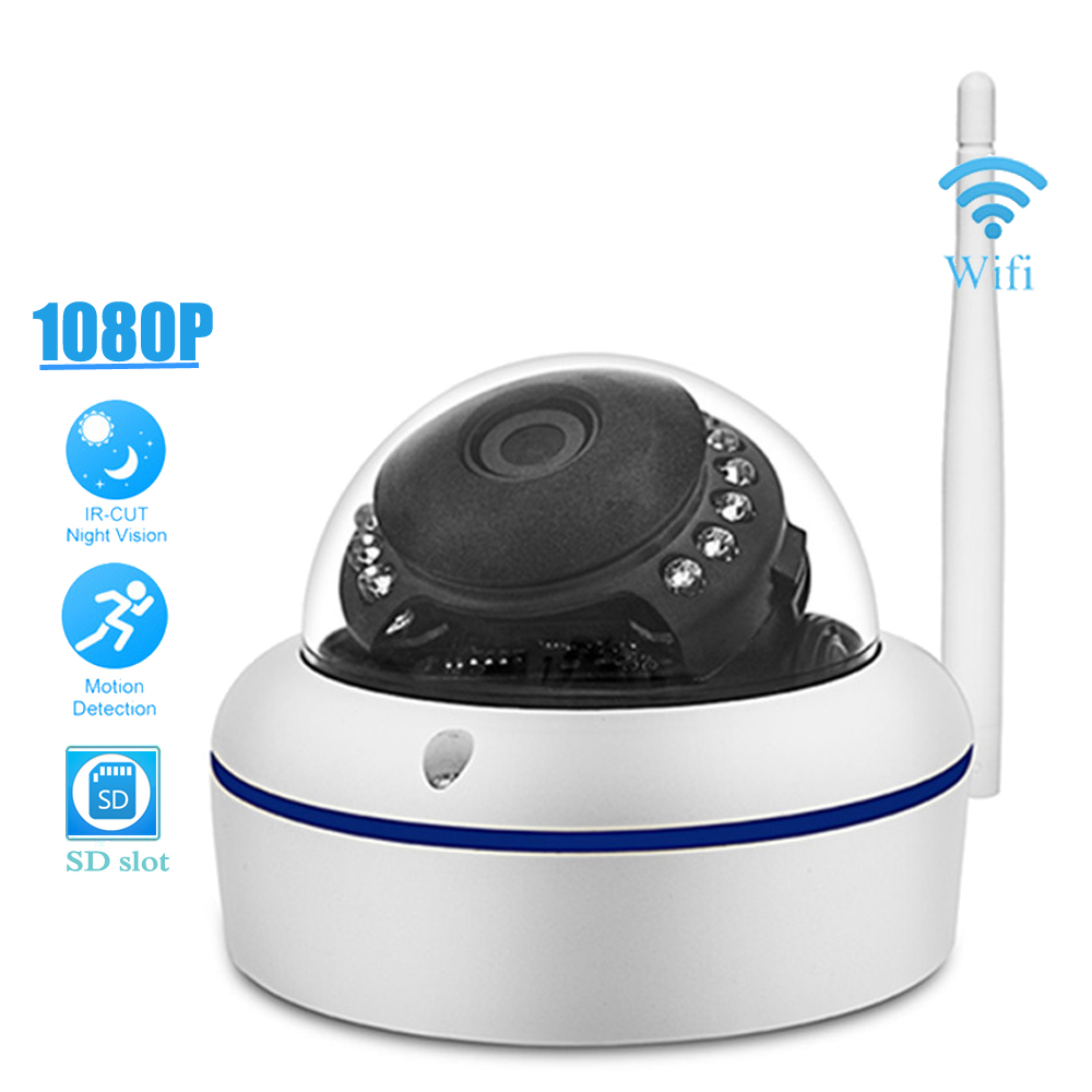 Indoor/Outdoor Full HD 1080P Dome WiFi IP Camera Wireless 2.0MP Home Network CCTV Security Camara SD Memory Slot P2P Onvif