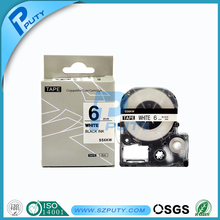 Compatible Tepra tape labelworkers tape 6mm black on white LC tape SS6KW for EPSON
