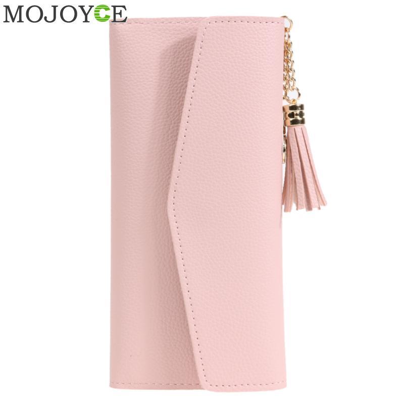 Luxury Brand Designer Women Wallet Fashion PU Leather Wallet Simple Pattern Tassels Purse Pink Women Clutch Long Wallets Purses