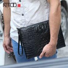 AETOO Leather embossed crocodile pattern men hand bag head layer leather shoulder business file information computer