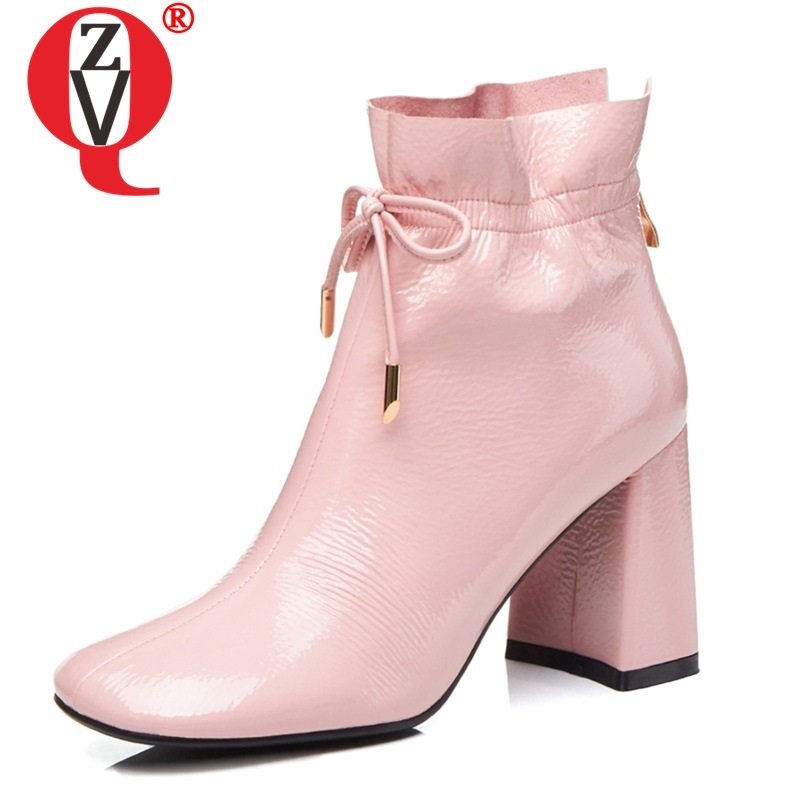 ZVQ woman shoes 2019 autumn winter new fashion square toe patent leather ankle boots outside super