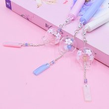 Gel Pen 0.5mm Pens Kawaii Wind Chimes Pendant Neutral Pens For School Girls Gift Writing Office Supplies Stationery Novelty Item(China)