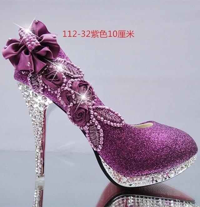 sparkling flowers diamond wedding womens dress shoes 2015 hot white purple lady bridal 10cm high heels