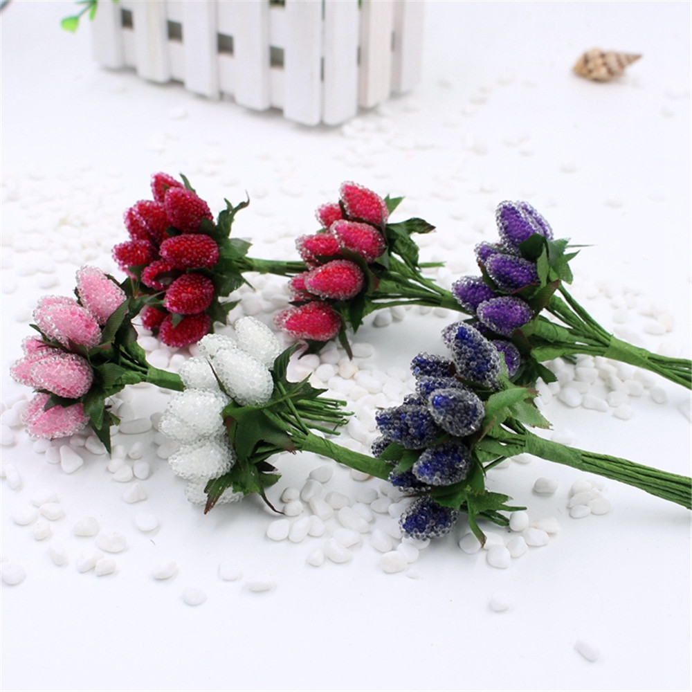 12pcs Artificial Christmas decoration Crystal Style Straw Berry Flower Bouquet For Wedding Decoration DIY Scrapbooking Decorativ
