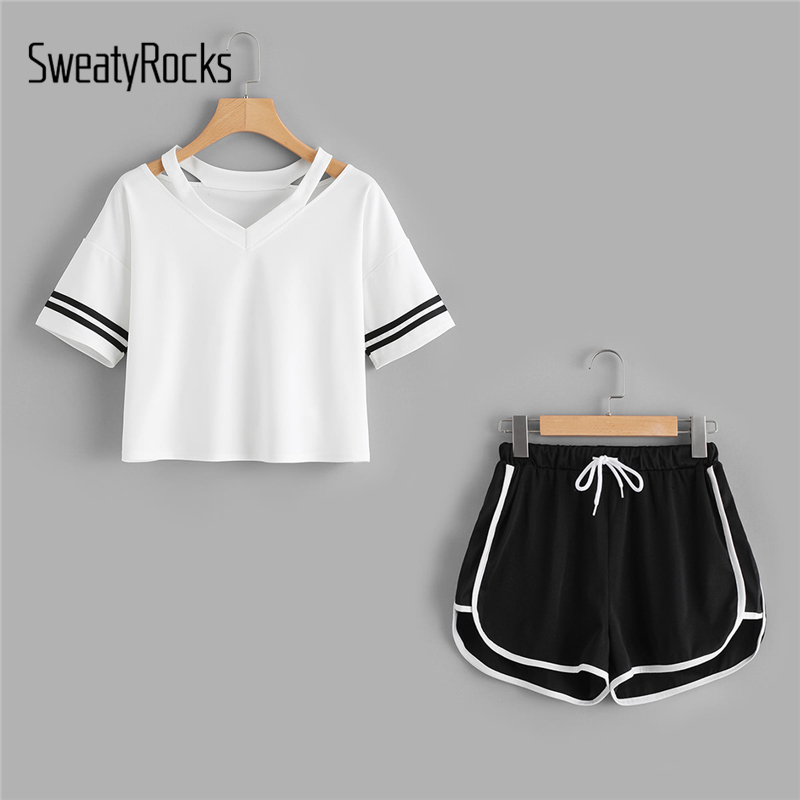 SweatyRocks Stripe Sleeve Top And Drawstring Contrast Trim Shorts Summer Stretchy Sporting 2piece Women V neck Casual Clothing|Women's Sets|   - AliExpress
