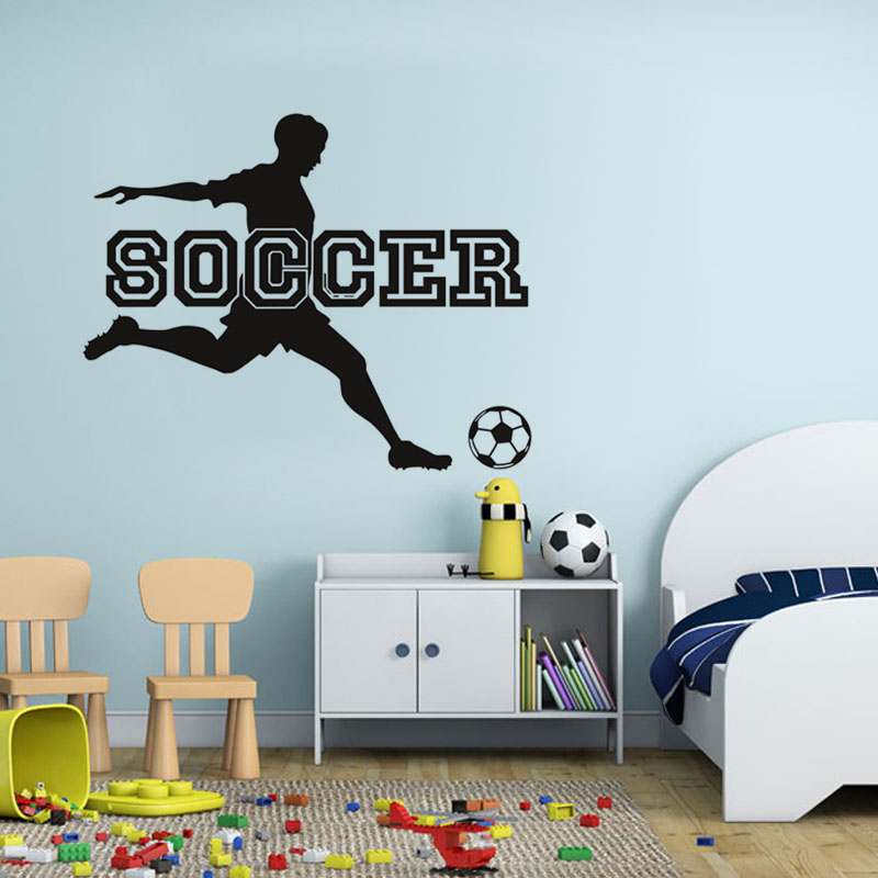 Soccer sport game wall sticker living room bedroom decor for Sports decals for kids rooms