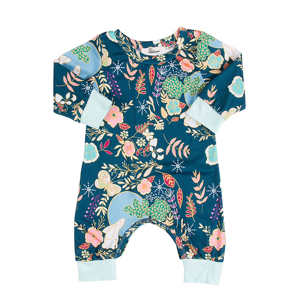 High Quality Newborn Baby Boys Girls Cotton Rabbit Long Sleeve Romper Floral Jumpsuit Outfits Sunsuit Clothes newborn infant baby girl boys cute rabbit bunny rompers jumpsuit long sleeve clothing outfits girls sunsuit clothes