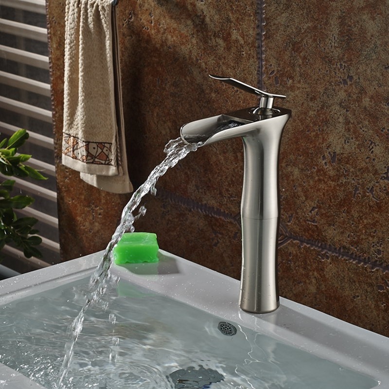 Tall Brushed Nickel Waterfall Bathroom Basin Faucet Deck Mount Soild Brass Mixer tall tales