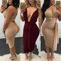5 colores mujeres sexy multicolor vestido 2017 verano otoño bodycon doble línea vendaje dashiki club plus size vestidos de fiesta XD813