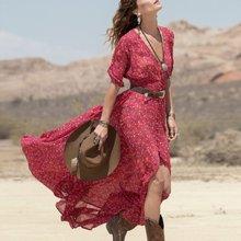 De las mujeres con cuello en v de 3/4 de manga larga maxi dress floral boho partido vestidos de playa