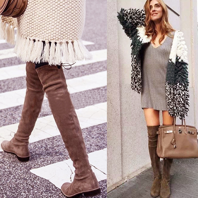 2017 Hot Quality Womens Faux Suede Over the Knee Flat Boots Comfortable Slouchy Thigh High Boots Black Gray Wine Red Nude