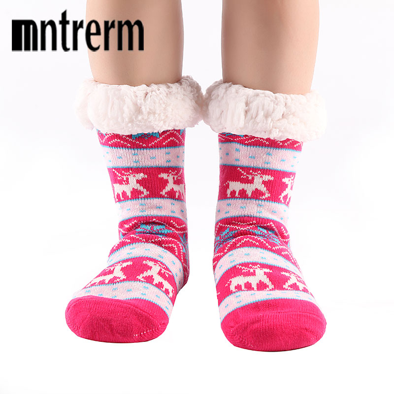 Mntrerm Nylon Lined Women Indoor Socks Layer Skid Home Reindeer Dual Crew Brand Christmas Winter Warm Soft Slipper Socks injinji 2012 performance midweight mini crew toe socks
