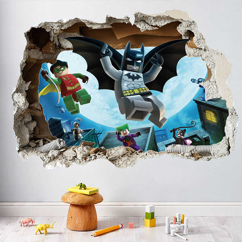 Lego Batman Super Heros Broken Wall Stickers For Nursery Kids Room Decoration 3D Mural Movie Art PVC Cartoon Avengers Home Decal