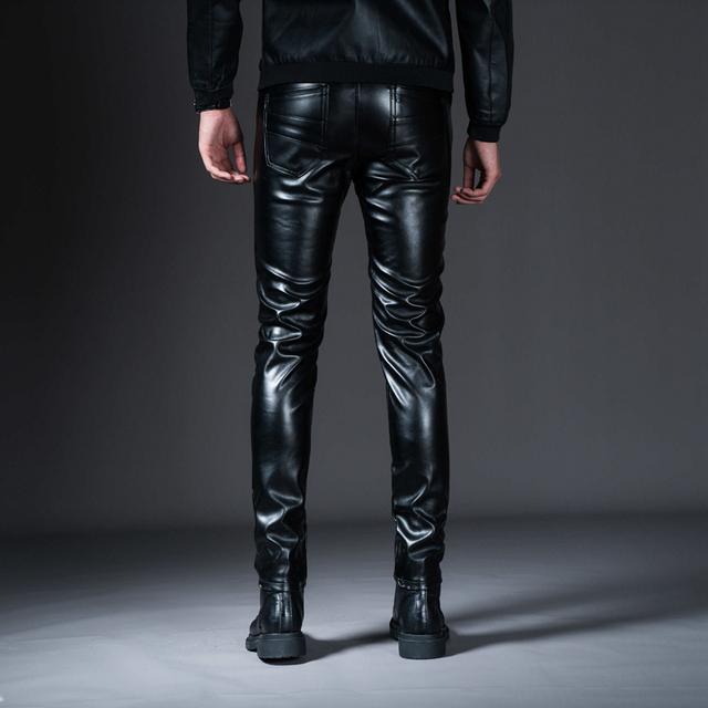 New Winter Spring Men's Skinny Leather Pants Fashion Faux Leather Trousers For Male Trouser Stage Club Wear Biker Pants 4