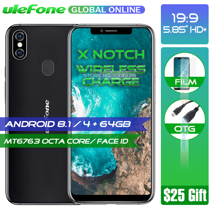 Ulefone X 5.85 HD+ 19:9 Smartphone MT6763 Octa Core Android 8.1 4GB+64GB 16MP Dual Rear Cam Face ID Wireless Charge Phone