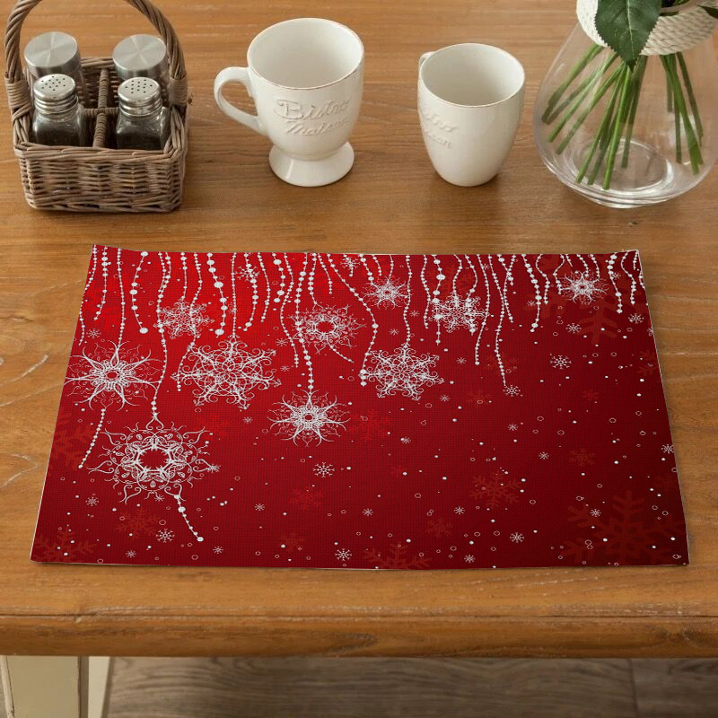 Christmas Style Table Napkin Dining Table Placemat Kitchen Tool Tableware Pad Coaster Coffee Tea party decorations Rectangular