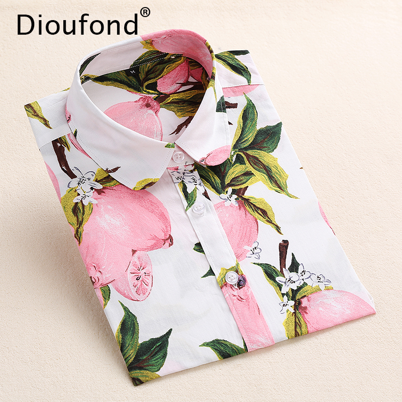 Dioufond Summer Floral Blouse Shirt Women Long Sleeve Tops Cotton Shirts White Navy Blouses Small Flower Blusas Femininas 2016