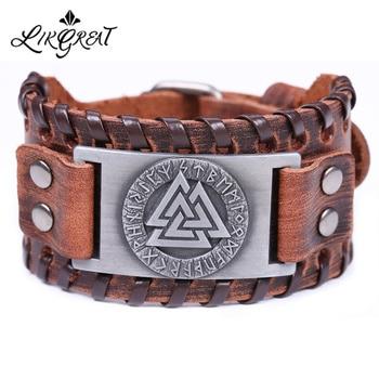 Likgreat eslavo noruega valknut amuleto pulseiras de couro gravado triângulo escandinavo viking pulseiras runas pulseira masculina