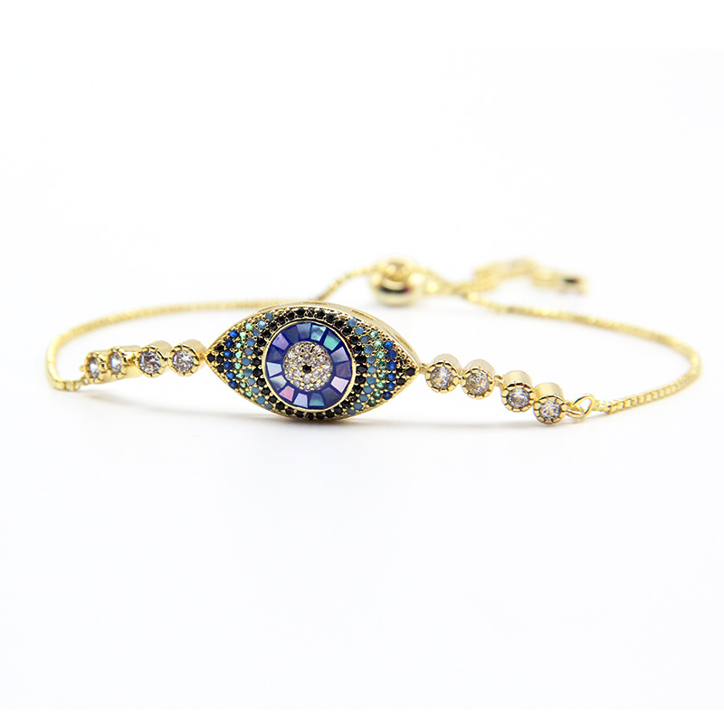 ZG Rhinestone Cubic Zirconia Bracelet Fashion Adjustable Evil Eye Bracelet дверь casaporte сицилия 11 глухая 1900х550 экошпон венге мелинга