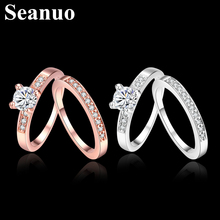 Seanuo Double ring jewelry AAA Austrian crystal paved women wedding ring fashion infinity love lady girl party finger ring gifts