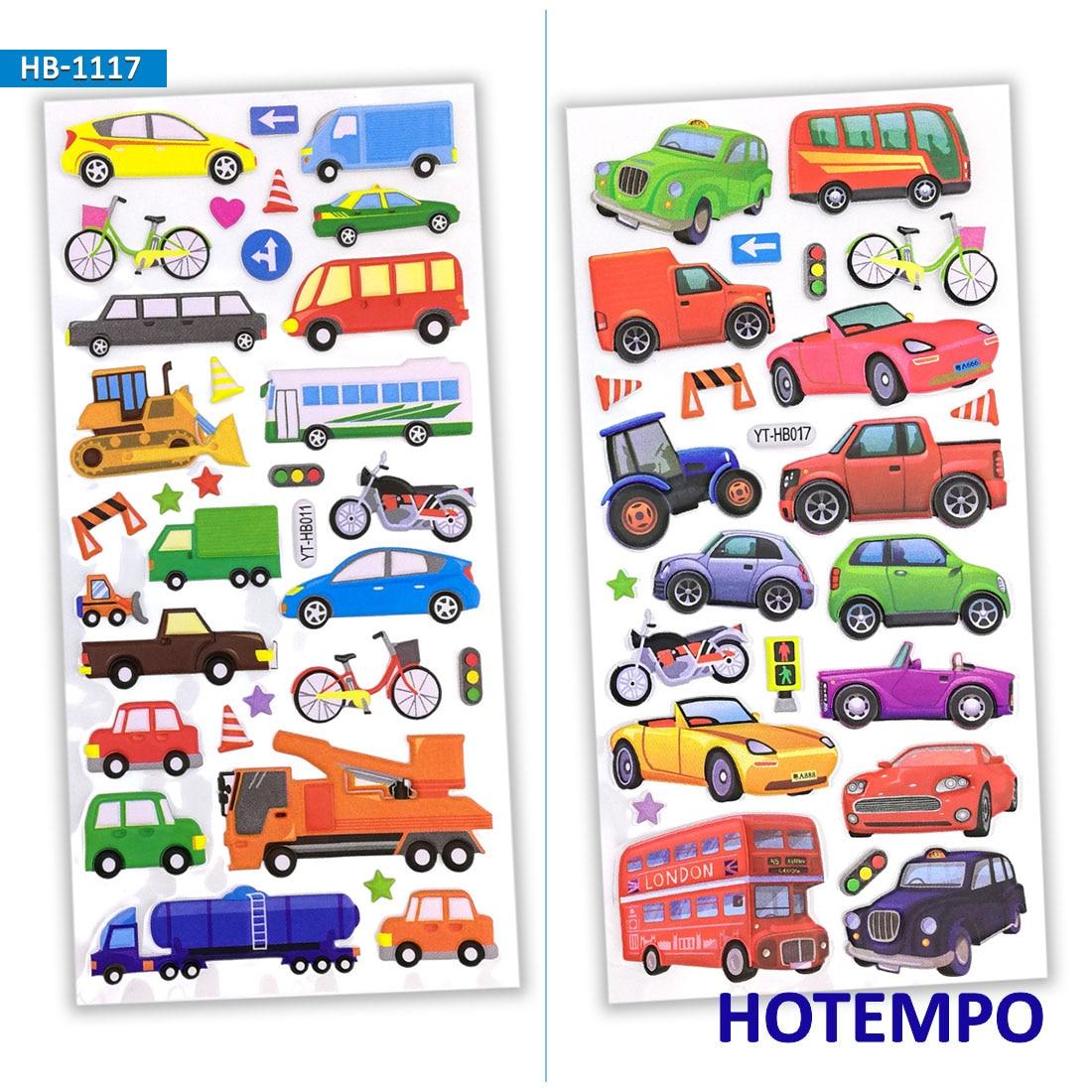 3D Foam Cute Cartoon Color Car Truck Airplane Wild Marine Animal Dinosaur Zoo Kids Stickers Pack For DIY Gift Scrapbook Stickers