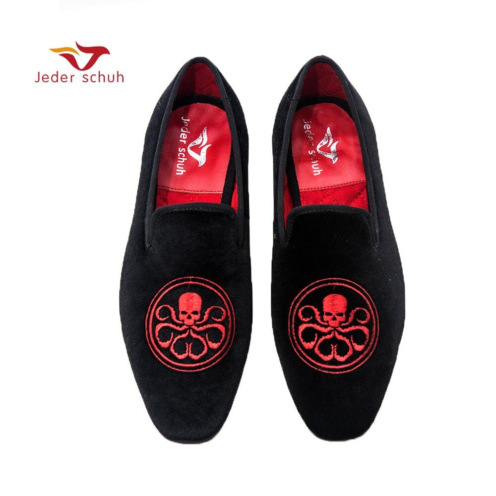 Jeder Schuh hommes chaussures rouge pirates logo conception velours chaussures fumer pantoufles banquet chaussures mocassins