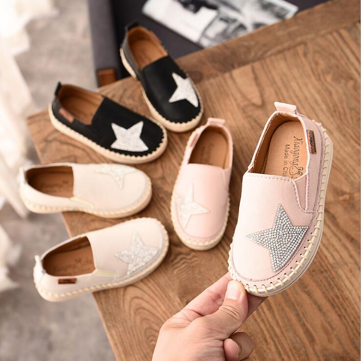 JY Children Girls Board Shoes Girls Bling Five Star Shoes Flat Shoes Pink Black Beige 21-30 1166 TX07