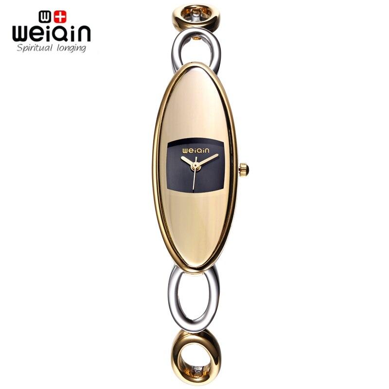Prix pour Montres Argent Or Creux Bande Bracelet Montres Femmes WEIQIN Marque De Luxe Mode Qaurtz Montre Femme Choc Montre-Bracelet Relogio