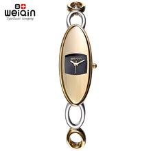 Relojes de Plata de Oro Hollow Band Pulsera Relojes Mujeres Qaurtz Reloj WEIQIN Marca de Lujo de Moda de Choque de la Mujer Reloj de Pulsera Relogio