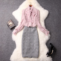 Office Lady 2 Two Piece Skirt Set New Pink Bowknot Flocking Shirt And Houndstooth Package Hip Skirt Suits Women Clothing
