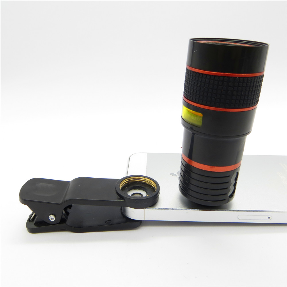 Universal 8X Zoom óptico Telescopio Cámara Lente Clip Teléfono - Accesorios y repuestos para celulares - foto 2