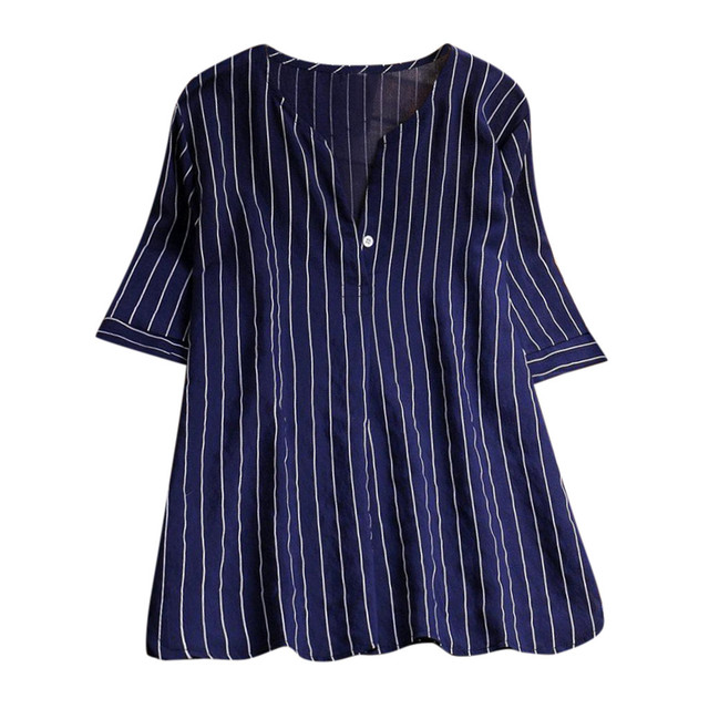 ed347a48ef US $9.63 30% OFF|New Women's Cotton Short Sleeve Plus Size Stripe Print  Loose T Shirt Casual Tops Cotton Polyester Striped V Neck Casual-in  T-Shirts ...