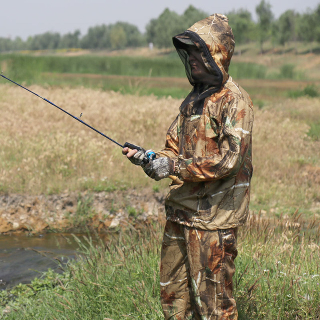 Summer Ultra-Thin Bionic Camouflage Suit Anti-Mosquito Fishing Hunting Clothes Tactical Ghillie Suit Jacket Pants Set 3