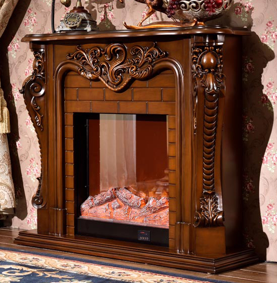 fireplace set W150cm European style solid wood mantel plus electric fireplace insert living room